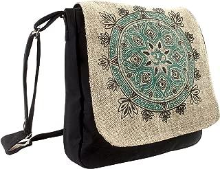 Natural Hemp-Cotton Eco Mandala Cross body Messenger Bag-Black-One Size
