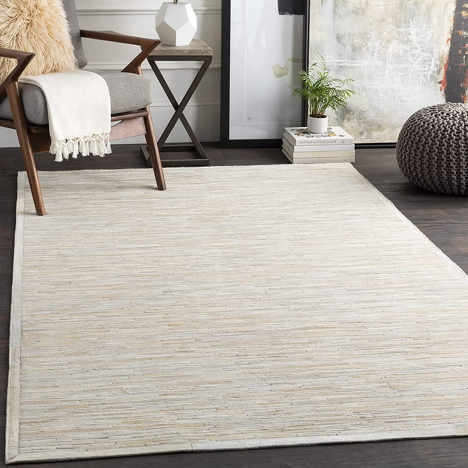 Singar Carpet Hand Woven Natural Cowhide Hair Max 73% OFF Outlet sale feature Leat on Work Patch