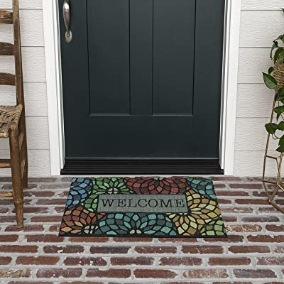 """Mohawk Home 4923 18306 018030 EC Welcome Stained Glass Floret Doormat, 1' 6"""" x2' 6"""", Multi Color"""