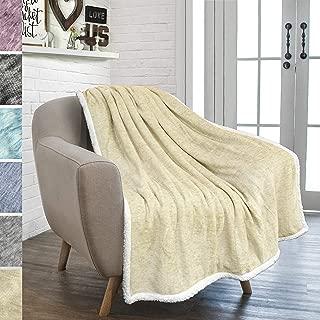 PAVILIA Melange Sherpa Fleece Throw Blanket | Super Soft, Reversible, Microfiber Fleece Blanket Throw | Luxurious Plush Fuzzy Beige TV Blanket for Couch Sofa(50x60 Inches, Latte)