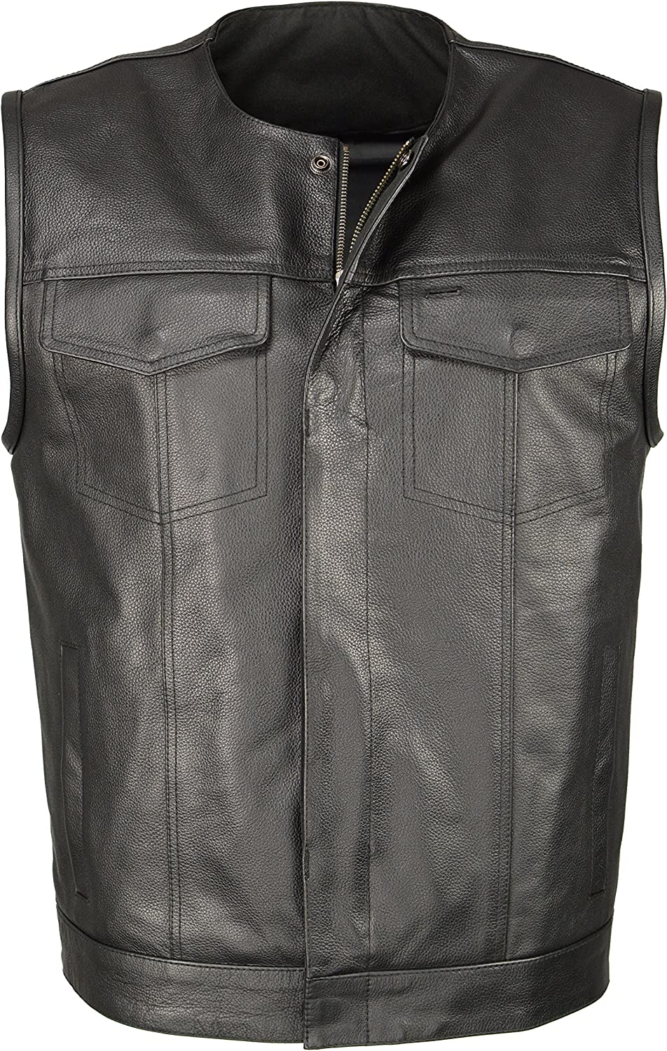 M Boss Motorcycle Apparel BOS13504 Men's Black Leather Collarless Club Style Vest with Quick Draw Pocket - Large