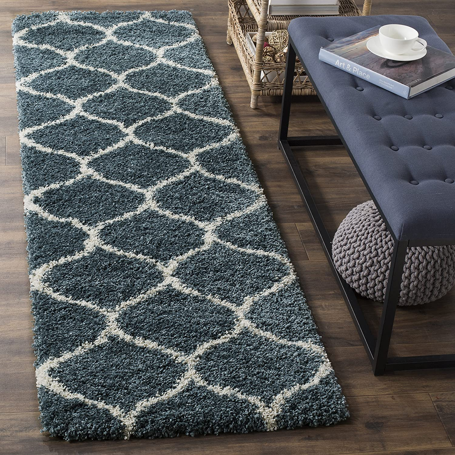 Safavieh Hudson Shag Collection SGH280L Slate and bluee Mgoldccan Ogee Plush Runner (2'3  x 12')