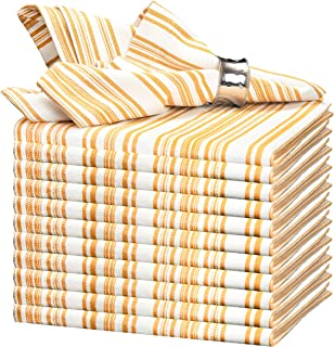 GLAMBURG Cotton Dinner Napkins Set of 12, 100% Ring Spun Cotton Cloth Dinner Napkins 18x18, Soft, Durable and Comfortable Cocktail Napkins, Wedding Dinner Napkins with Mitered Corners - Golden Yellow