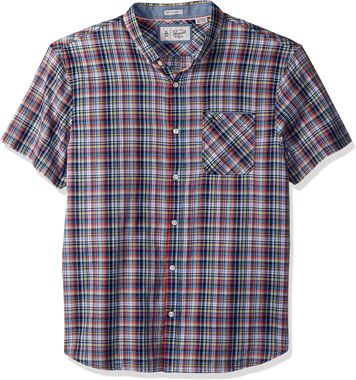 Original Penguin Mens Men's Short Sleeve Stretch Plaid Shirt Button-Down Shirt