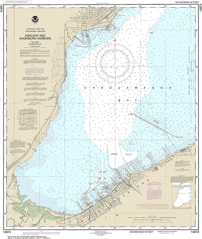 NOAA Chart 14974 Ashland and Washburn Harbors  32.82  X 26.86  Laminated Map