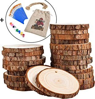 Lumberjak 24 Natural Wood Slices for Crafts Set (2.85-3.15in) 24 Paint Brushes, 8 Paint Colors, 33Ft Hemp String Pre-Drilled Wooden Discs for Arts and Crafts, Ornaments, Wood Coasters