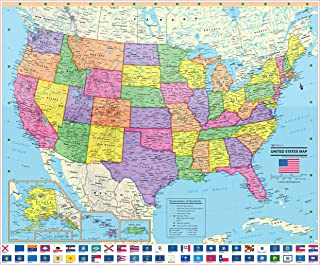CoolOwlMaps 2019 United States Wall Map Poster with State Flags - Large 36