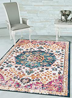 Woven Trends Contemporary and Traditional Area Rug, 048 Vintage Medallion, Extremely Durable and Stain Resistant, Stylish with Non-Skid Rubber Backing (Multi-Color, 2' x 3' Rug Mat)