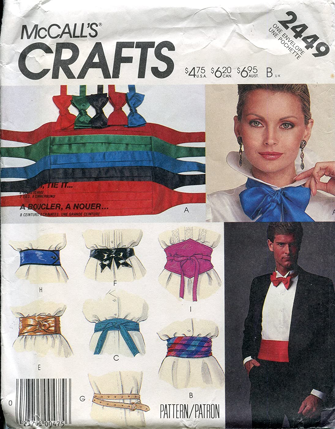 McCall's Crafts Pattern 2449 Belt & Tie Package