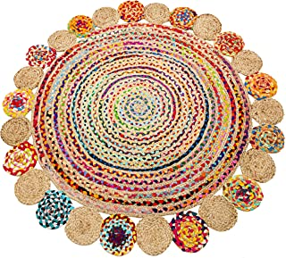 Eleet Handcrafted Reversible Cotton Area Rug - Multicolor Hand Woven Braided Rug Rag (4 Feet Fancy Round Cotton + Jute)