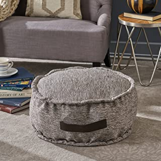 Christopher Knight Home Alice Grey Fabric Round Bean Bag Ottoman