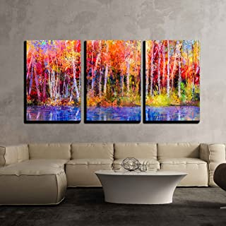 wall26 - 3 Piece Canvas Wall Art - Oil Painting Colorful Autumn Trees. Semi Abstract Image of Forest, Aspen Trees with Yellow - Modern Home Decor Stretched and Framed Ready to Hang - 16