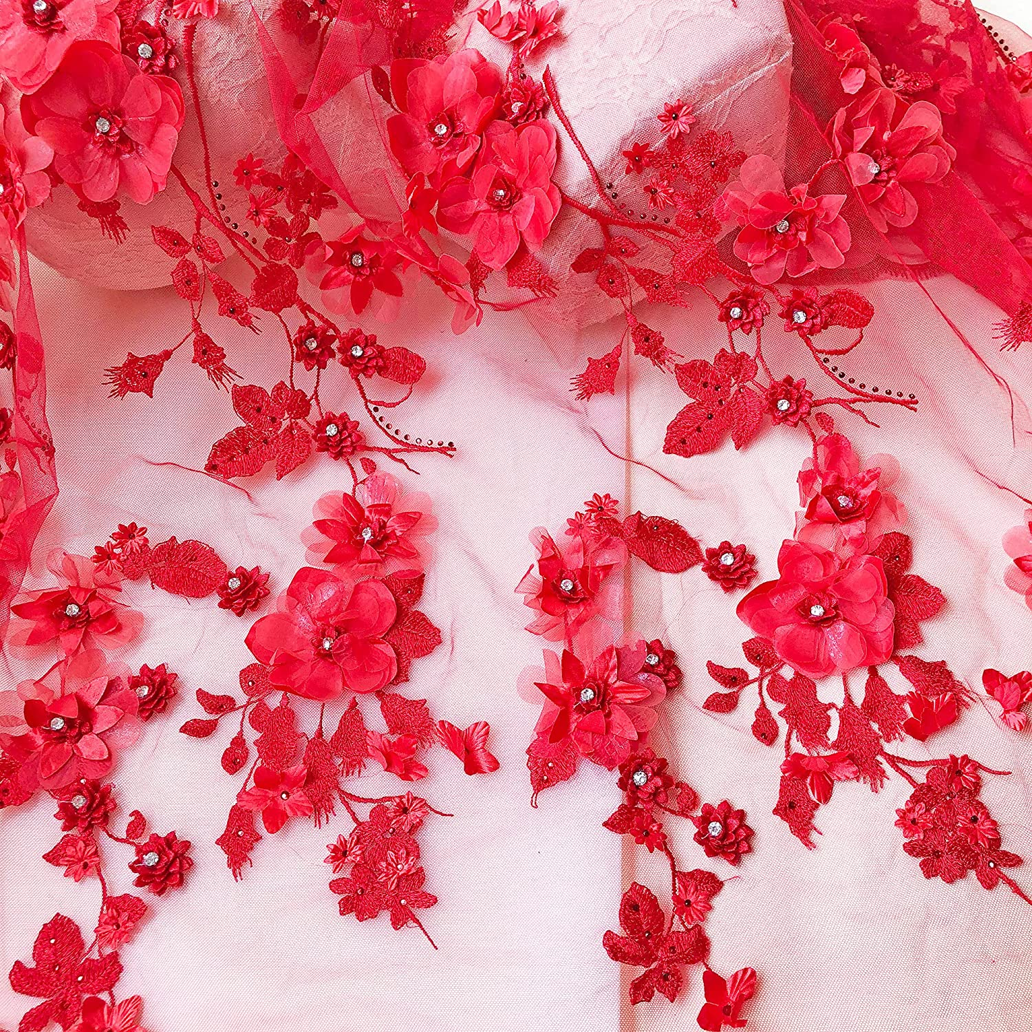 Exquisite Sequin Lace Fabric 3D Beaded Lace Fabric By The Yard Tulle Embroidery Lace Fabric for Wedding Dress,Floral Lace,Bridal Gown Lace