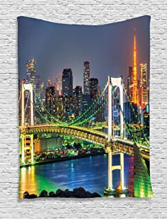 Ambesonne Landscape Tapestry, Tokyo Skyline with Tokyo Tower and Rainbow Bridge Tokyo Japan Night Scenery View, Wall Hanging for Bedroom Living Room Dorm, 60