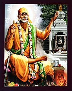Sai Baba Sitting Outside The Temple and Wearing Garland and Holy Religious mala in Hand, A Lord Sai Baba Poster with framing, Must for Every Home and Religious Purpose