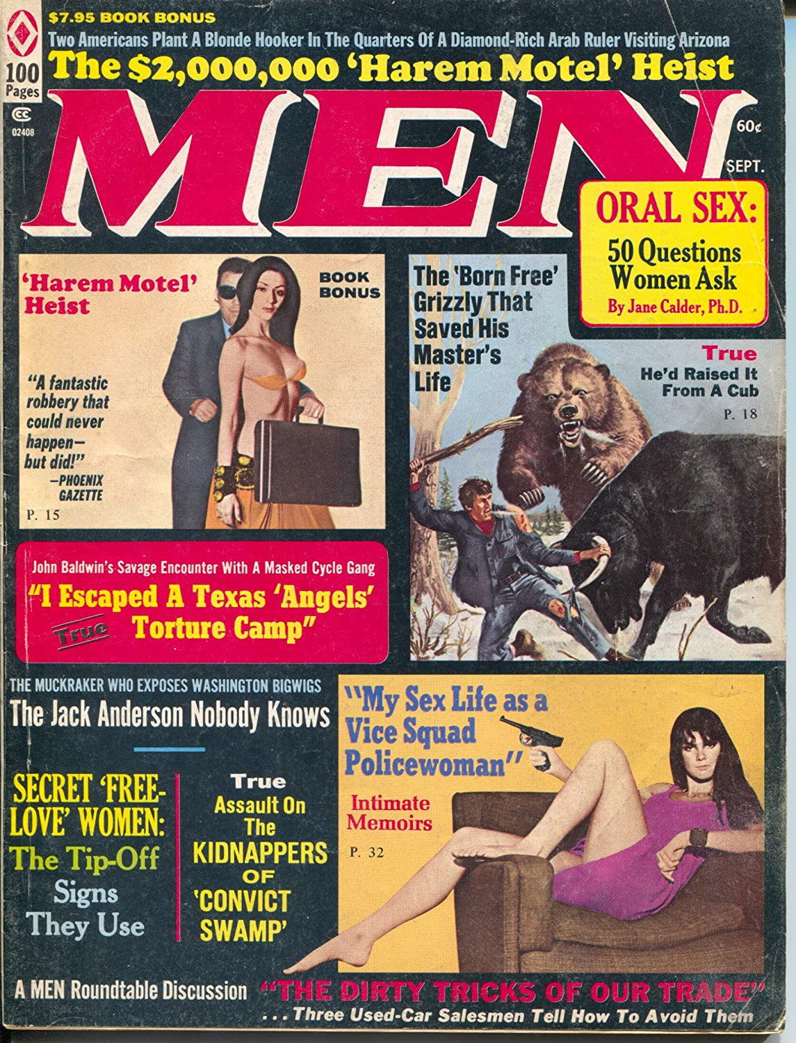 Men 9/1972-Atlas-vice squad police woman-torture-Earl Norem-Bruce Minney-VG xboial4093744
