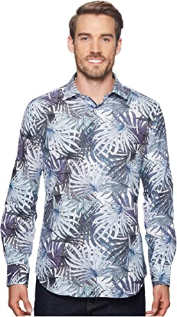 Shaped Fit Palm Frond Woven Shirt