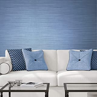 76 sq.ft Rolls Italian Portofino Textured Made in Italy wallcoverings Modern Embossed Vinyl Wallpaper Blue Metallic Faux grasscloth Fabric Imitation Design Horizontal Stria Lines Plain Wall coverings