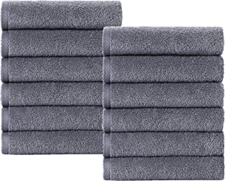 Classic Turkish Towels Quick Dry Bath Towels - Thick Soft Hotel and Spa Terry Cloth Bathroom Set Made with 100% Turkish Cotton (Grey, 13x13)