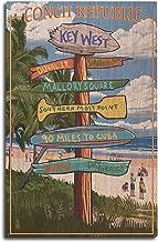 Lantern Press Key West, Florida - Conch Republic - Destinations Sign (10x15 Wood Wall Sign, Wall Decor Ready to Hang)
