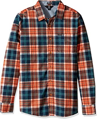 Volcom Camisa Hayden Flannel Check Camiseta Camisa De Franela Estilo leñador Hombre Cuadros Naranja, Hombre, Hayden Flannel Check Shirt Flanell Hemd ...