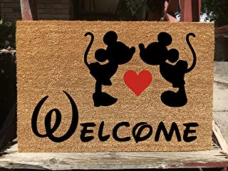KiwiCraftdom - Mickey Mouse and Minnie Mouse Kissing!! Disney Inspired Doormat - Large Welcome Door Mat - Cute Housewarming Gifts - Fun Birthday Present