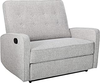 Christopher Knight Home Calliope Buttoned Fabric Reclining Loveseat, Light Grey Tweed   Black