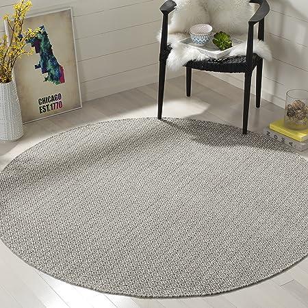 Safavieh Montauk Collection Mtk717a Handmade Cotton Area Rug 6 X 6 Round Ivory Grey Furniture Decor