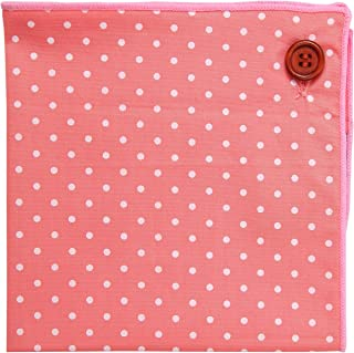 Pocket Square 100% Cotton, Pink Polka Dot, Button Collection by Puentes Denver