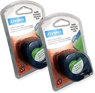 Dymo LetraTag Pack Paper Label Refills, White, 1/2 x 13 Ft, Pack of 4