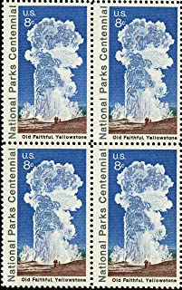 US Postage Stamps, 1972, National Parks Centennial, Old Faithful/Yellowstone, S# 1453, Plate Block of 4 8 Cent Stamps