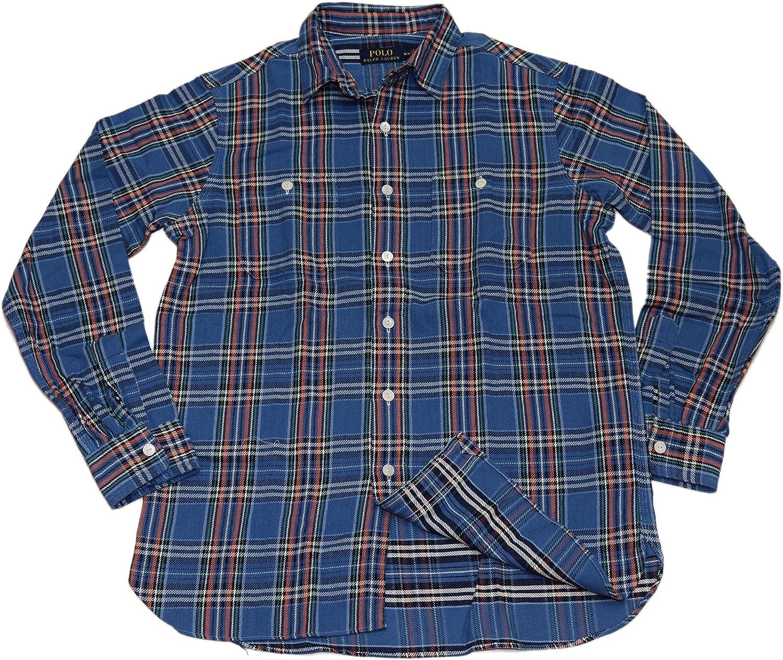 Ralph Lauren Polo Men Workshirt Button Down Casual Shirt Blue Orange Green Small