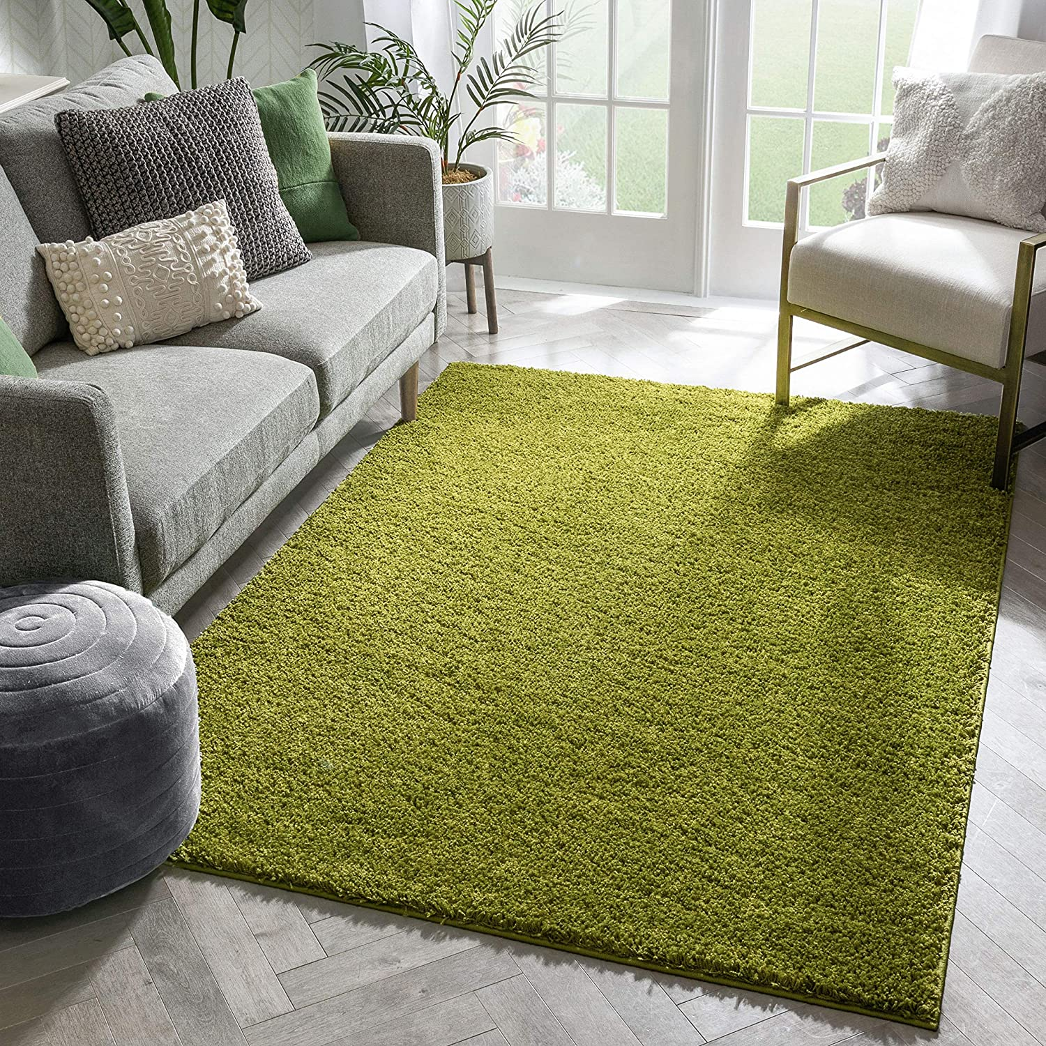 Well Woven Madison Shag Inventory Ranking TOP20 cleanup selling sale Plain Solid Gree Contemporary Light