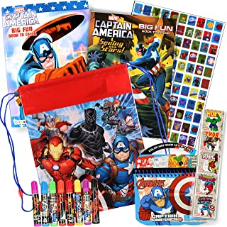 Marvel Disney Travel Activities for Kids in Backpack - Bundle Includes Drawstring Backpack, Activity Books, Stickers, and More (Silver Captain America)