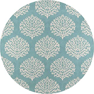 Momeni Rugs Veranda Collection, Contemporary Indoor & Outdoor Area Rug, Easy to Clean, UV protected & Fade Resistant, 9' Round, Blue