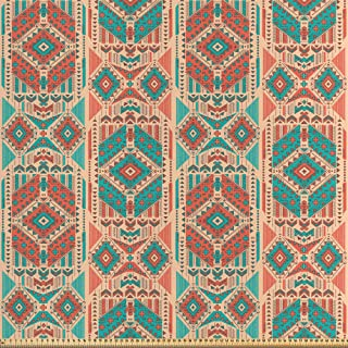 ABAKUHAUS Mexicano Tela por Metro, Motivo Geométrico De La Vendimia, Satén para Textiles del Hogar y Manualidades, 5M (148x500cm), Pale Mar Verde Oscuro Coral Coral
