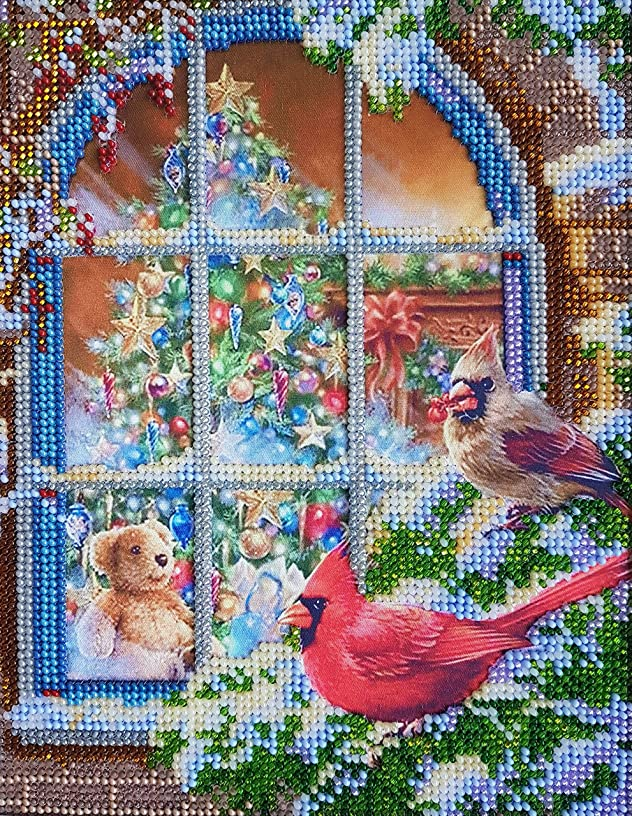 Christmas Mood Bead Embroidery Needlepoint Handcraft kit DIY Beaded Painting 3D Tapestry Beaded Cross Stitch kit Beadwork Made in Ukraine