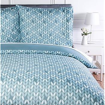 200 x 200 cm 100 /% coton Nimsay Home Azure Parure de lit 100 /% coton 2 x 63 x 63 cm