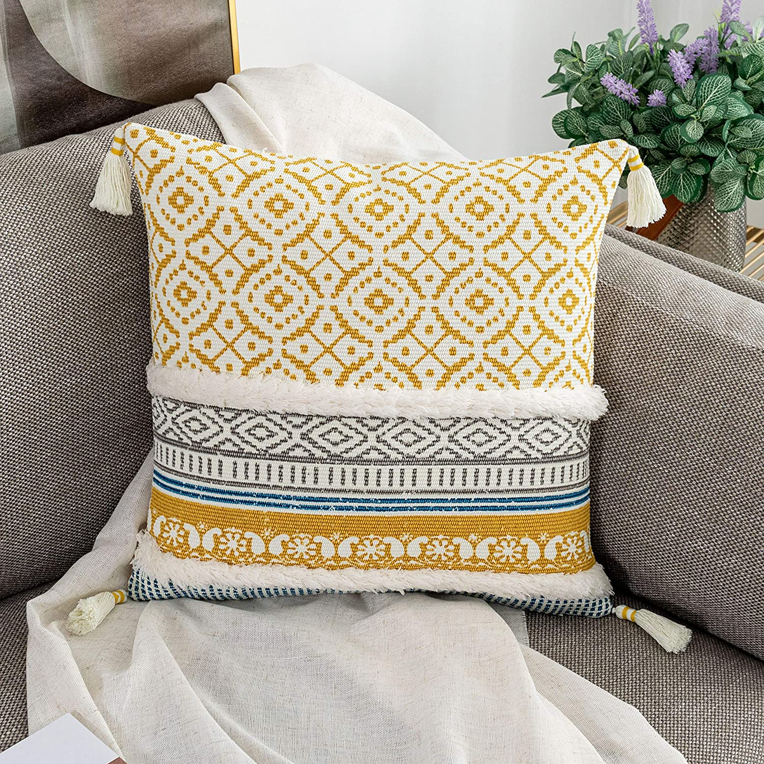 gift OJIA Throw Pillow Cover Boho 2021 new Decorative Tassel Accent Co