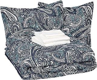 AmazonBasics 8-Piece Comforter Bedding Set, Full / Queen, Blue Paisley, Microfiber, Ultra-Soft
