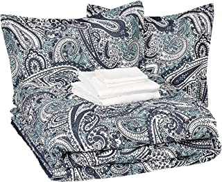 AmazonBasics 8-Piece Comforter Bedding Set, Full / Queen, Blue Paisley, Microfiber, Ultra-Soft