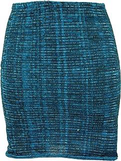 GURU-SHOP, Mini Falda, Falda de Punto Boho, Falda étnica, Turquesa, Algodón, Tamaño:36, Faldas Cortas