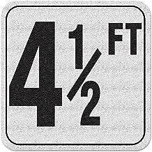 Aquatic Custom Tile Vinyl 3M Adhesive Swimming Pool Deck Depth Marker 4 1/2 FT, 4 inch Font