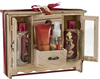 French Vanilla Bath and Body Essential Aromatherapy Spa Bath Gift Set in Natural Wood Curio, Vanilla Shower Gel,Bubble Bath, Bath Salt, Body Lotion, Body Spray, Luxury Womens Spa Gift Se