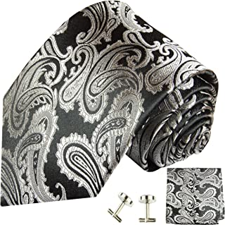 Black and Silver Paisley Silk Necktie Set by Paul Malone