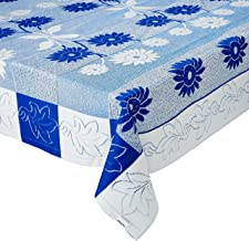 Amazon Brand - Solimo Cotton Blend Table Cover for Centre Table and 4 Seater Dining Table (Floral, Blue)