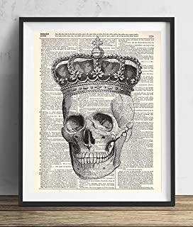 Skull With Crown Illustration Vintage Upcycled Dictionary Art Print 8x10