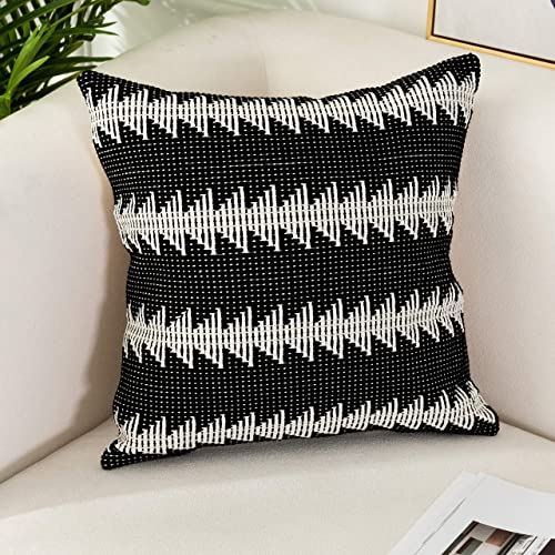 Sungea Farmhouse Black and White Throw Pillow Cover, 20 x 20 Decorative Boho Pillowcase Small Tree Pattern Woven Cushion Cover Square Geometric Weave Cotton Pillow Sham for Sofa Couch Living Room