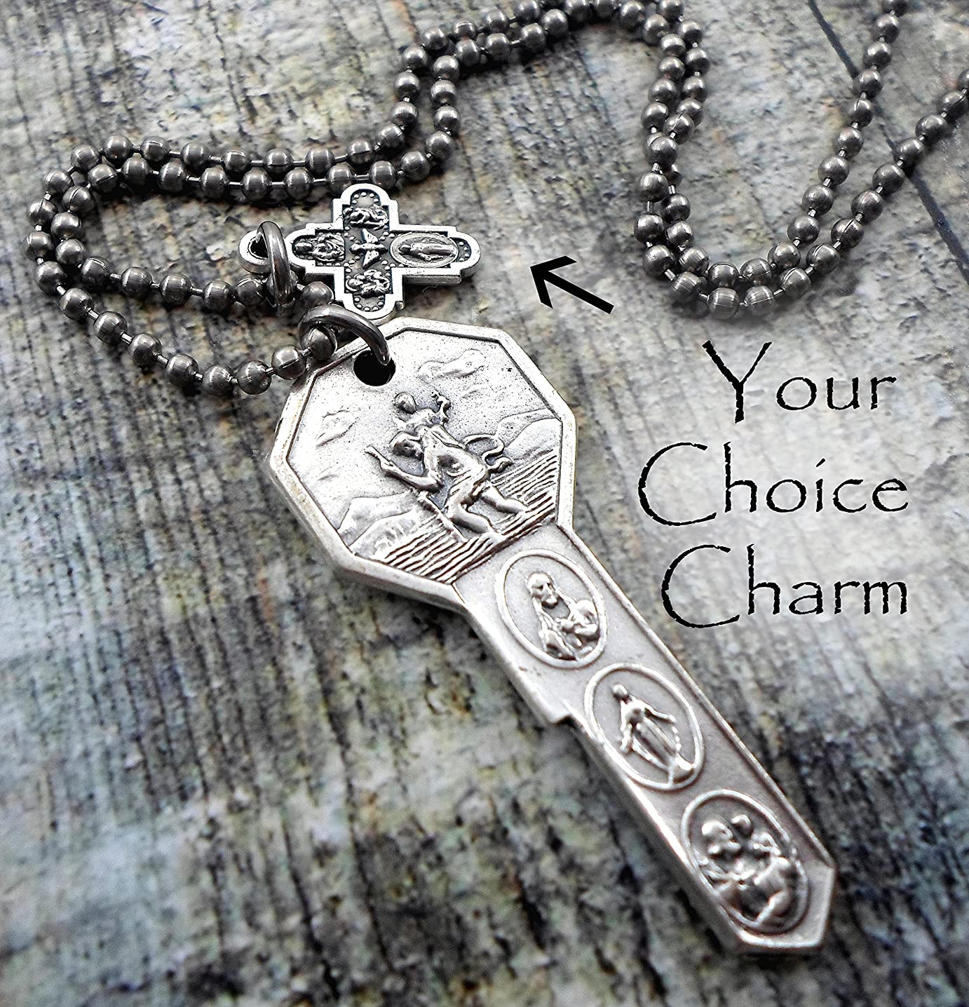 St. Christopher Travel Protection Necklace, with Your Choice Italian Charm, Keychain or Purse-Backpack Clip