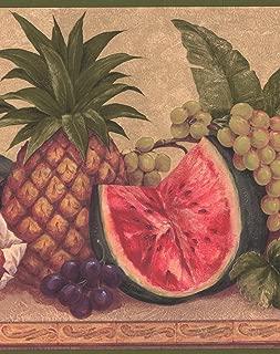 Exotic Pineapple Watermelon Grapes Tangerine Flowers Brown Wide Wallpaper Border Retro Design, Roll 15' x 10.25''